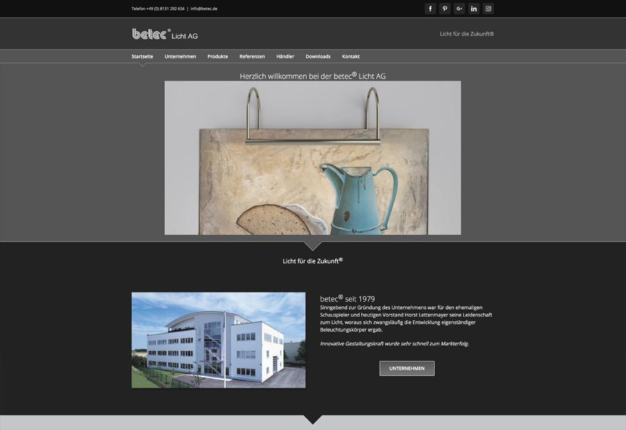 Website Programmierungfür Lampenhersteller