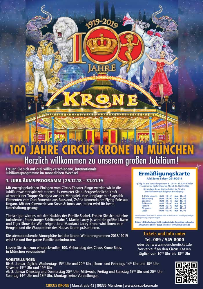 Circus Krone Muenchen - beruehmter internetionaler Circus - Grafikdesigner Christian Petrovits - sehenundmachen.de