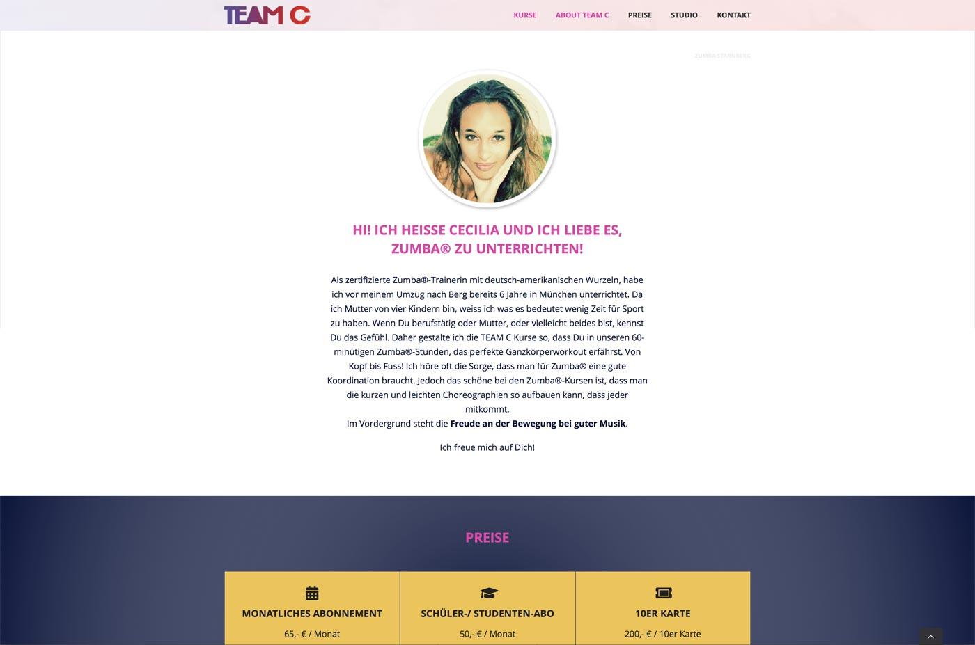Homepage für Fitness-Kurse buchen - Starnberg Zumba®
