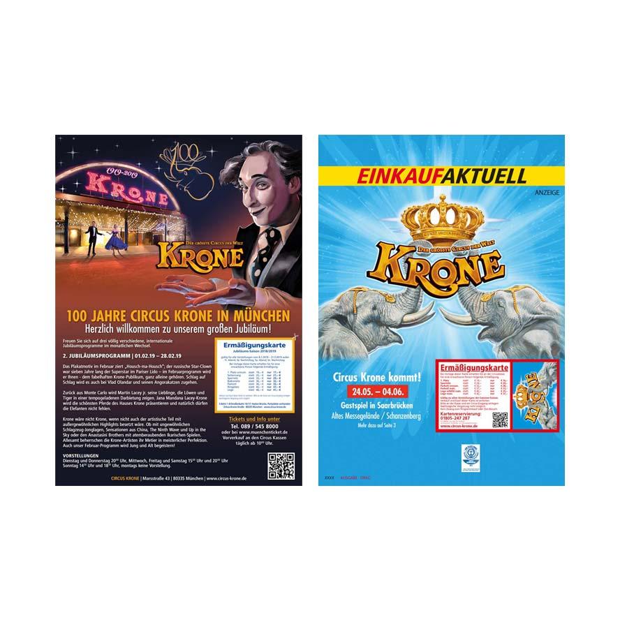 Titelseiten Gestaltung für Magazine - Grafikdesigner für den Circus Krone in München