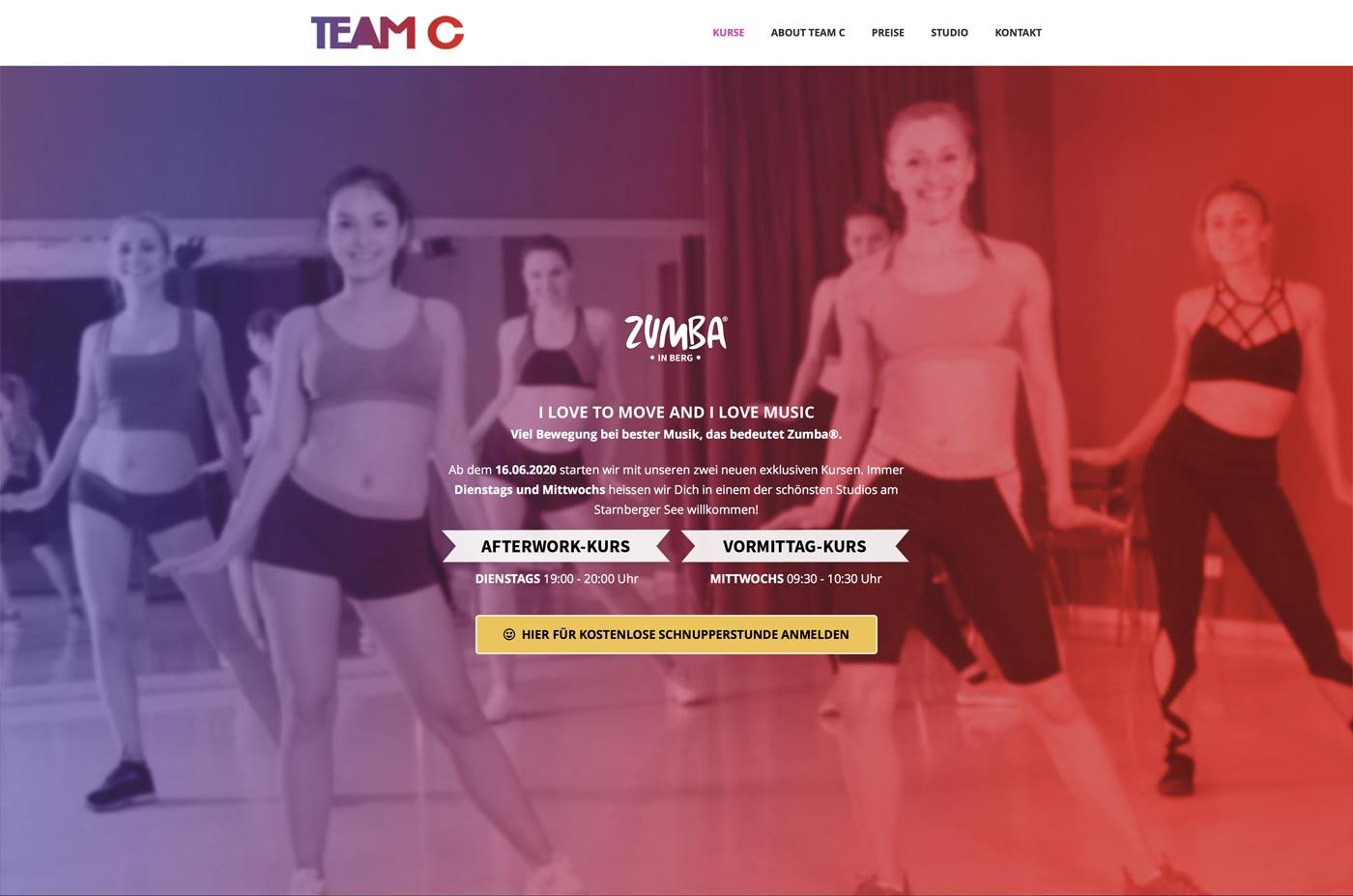 Website Seite für Fitness-Kurse buchen - Starnberg Zumba®