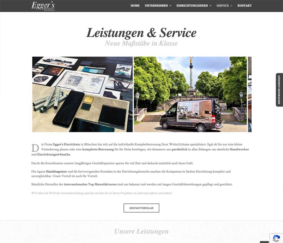 Internetseite für Raum-Ausstatter und Interior Designer in München